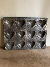 New listing Big Old Tin Metal 12 Deep Heart Form Mold Pan Patina Aafa Kreamer