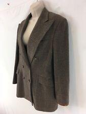 Ralph Lauren Womens 12 Brown Wool Tweed Lined Double Breast USA Md Blazer Jacket