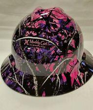 NEW Custom MSA V GUARD Full Brim Hard Hat Pink Muddy Girl Camo Pattern