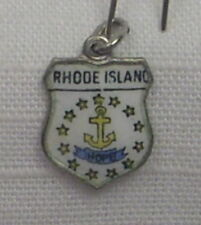 Vintage REU Sterling/Enamel Rhode Island State Flag Bracelet/Travel Charm - NOS