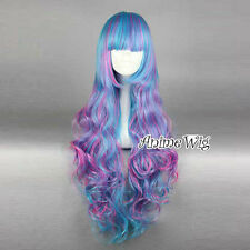 Ombre Blue Mixed Purple Long Curly Hair Bang Lolita Cosplay Party Wig Halloween