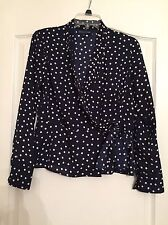 Jones New York Signature Woman's Tie Front Dressy Blouse - Navy - Small NWOT