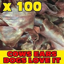 100 x TASTY SMOKED FLAVOUR COW COWS BEEF EAR EARS DOG PET TREAT CHEW SNACK VALUE