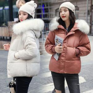 New Winter Women Down Cotton Jacket Slim Short Fur Collar Hooded Coat Warm Parka