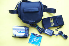 Sony Handycam DCR-DVD308 Carl Zeiss 25x Camcorder w Charger/Bag/Disc/Card Bundle