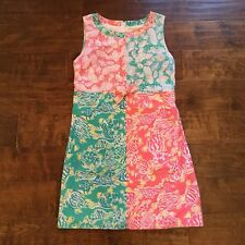 LILLY PULITZER Vintage White Label Summer Shift Dress Sz Small Turtles Seashells