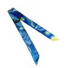 2 Pieces Silk Twilly Purse Scarf Handbag Twill Tie, Van Gogh, Starry Night
