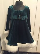 Bonnie Jean Girls Size 4 Green Sparkly Faux Fur Velvet Holiday Dress
