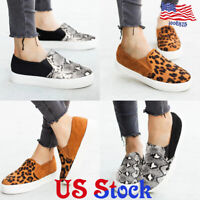 Women Loafers Slip On Walking Boat Shoes Leopard Printed Comfy Pumps Flat Shoes