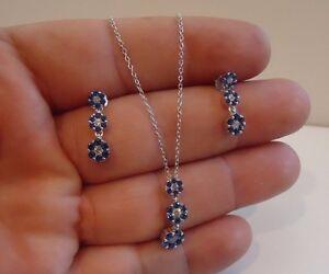 925 sterling silber ketten anhänger & ohrring set mit 2 ct diamant & tansanit