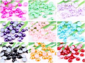 1000Pcs Half Round Bead Flat Back Acrylic Pearl Scrapbooking Embellishment Craft