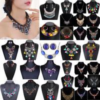 Fashion Charm Chunky Crystal Statement Bib Choker Pendant Necklace Jewelry Chain