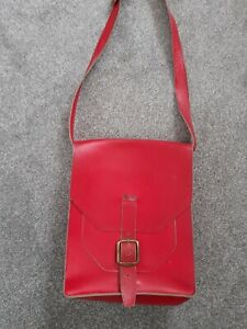 Red Leather Large Messenger Style Satchel Unisex Bag