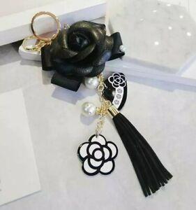 Luxury Designer Inspired Camellia Black White Bag Charm Keychain Keyring Tassel