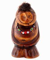 Peliken Wood Sculpture Hand Carved Billiken Figurine Russian Kamchatka Folk Art