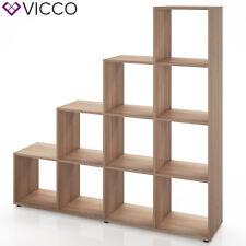 VICCO Treppenregal 10 Fächer Eiche Sonoma - Raumteiler Stufenregal Bücherregal