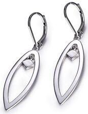 ELLE Jewelry - Sterling Silver Cutout Leaf Style Leverback Earrings