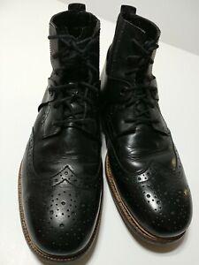 Tsubo Men's US Sz 12 Winslow Raven Black Wingtip Oxford Leather Boots $240 Ret.