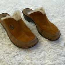Born Brown Leather & Faux Fur Lined Clogs Womens Shoes Size 10 / EU42