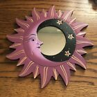 """MOON & STARS MIRROR 11.5"""" Hand Carved & Painted NEW MAUVE"""