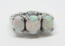 Size 9 Three Stone Lab Opal Ring Sterling Silver Filigree Antique Vintage Style