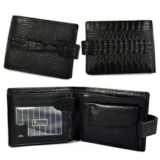 New Men's Retro Bifold Genuine Leather Wallet Crocodile Short Purse Casual