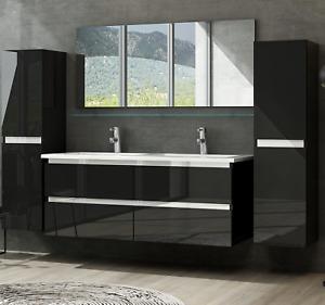 Doppelwaschtisch Hochglanz Schwarz Doppel Waschbecken Badezimmer Bad möbel Set