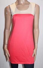VALLEYGIRL Designer Coral Beige Colour Block Bodycon Dress Size L BNWT #SD109