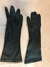 "Vintage Lazarus France Soft Thin Leather Blue Gray 10"" Long Gloves Adult Sz 6 XS"