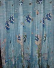 S10 Ocean World Fish Under the Sea Shower Curtain Set Vinyl Liner Plastic Hooks