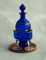 Vtg Dollhouse Miniature Artisan Francis Whittemore Blown Glass Decanter 2 Goblet