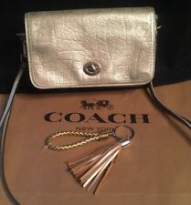 Coach Penny 19908 Metallic Leather Crossbody Champagne+Bonus Keychain Tassel