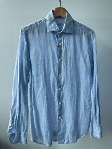 Slowear Slim Fit Blue Check Linen Shirt size 37 XS Incotex