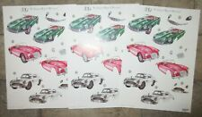 3 x 3D No Scissors Required Pre-Cut Cars Design Decoupage A4 Sheets