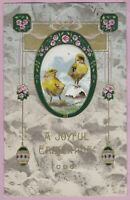 "Ca. 1908  ""A Joyful Easter""  w/ Chicks & Roses Holiday Greetings Postcard - 1137"