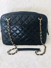 Chanel Logo Quilted Black Lambskin Gold Hardware Shoulder Bag