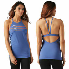 Reebok Les Mills Women's Tank Top Built In Padded Sports Bra Strappy Gym Vest M