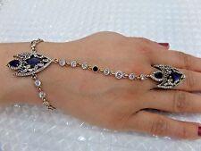 Body Jewelry ! 925 Silver Handmade Blue Sapphire Bracelet & Slave Ring Chain