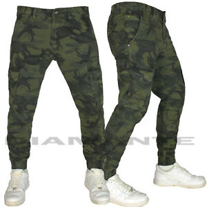 Pantalone uomo mimetico militare Cargo tasconi elasticizzato multitasche G527