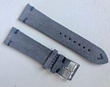 02 Straps Grey Vintage Suede Leather watch band strap 22mm Black Stitching