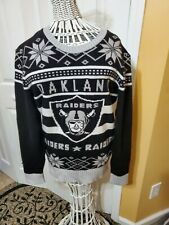 NFL Oakland Raiders Two-Tone Acrylic Holiday Sweater, Medium Mens Junk Food.