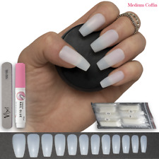 60-600x STICK ON COFFIN FALSE NAILS Full Cover Natural Opaque 💖 FREE Vixi GLUE