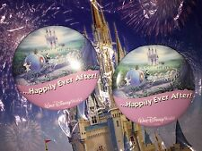 Walt Disney World Just Married Two Happily Ever After Pins Buttons, DISCONTINUED