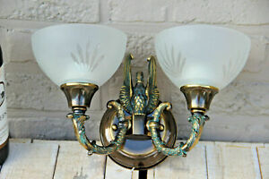 Vintage French empire swan glass shade Wall light sconce