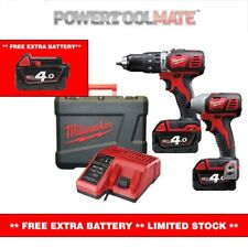Milwaukee M18BPP2C-402C 18V Compact Impact Driver and Combi Drill Twinpack with