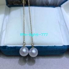 stunning AAA+ 7.5-8mm natural akoya white pearl earring 14k Gold long earrings