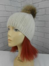BNWT Designer Joseph Cream 100% Cashmere Beanie Bobble Hat Fur Pom Pom RRP £125