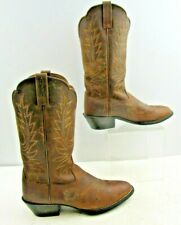 Ladies Ariat Brown Leather Western Cowgirl Boots Size: 6.5 B