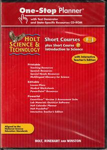 HOLT SCIENCE & TECHNOLOGY One-Stop PLANNER Short COURSES F-J Test TEACHER CD-ROM