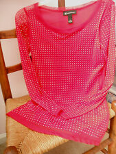 INC SEMI SHEER TOP~RED, S, LONG SLEEVE~SPARKLY SILVER BEADS~PRE-HOLIDAY SALE NOW